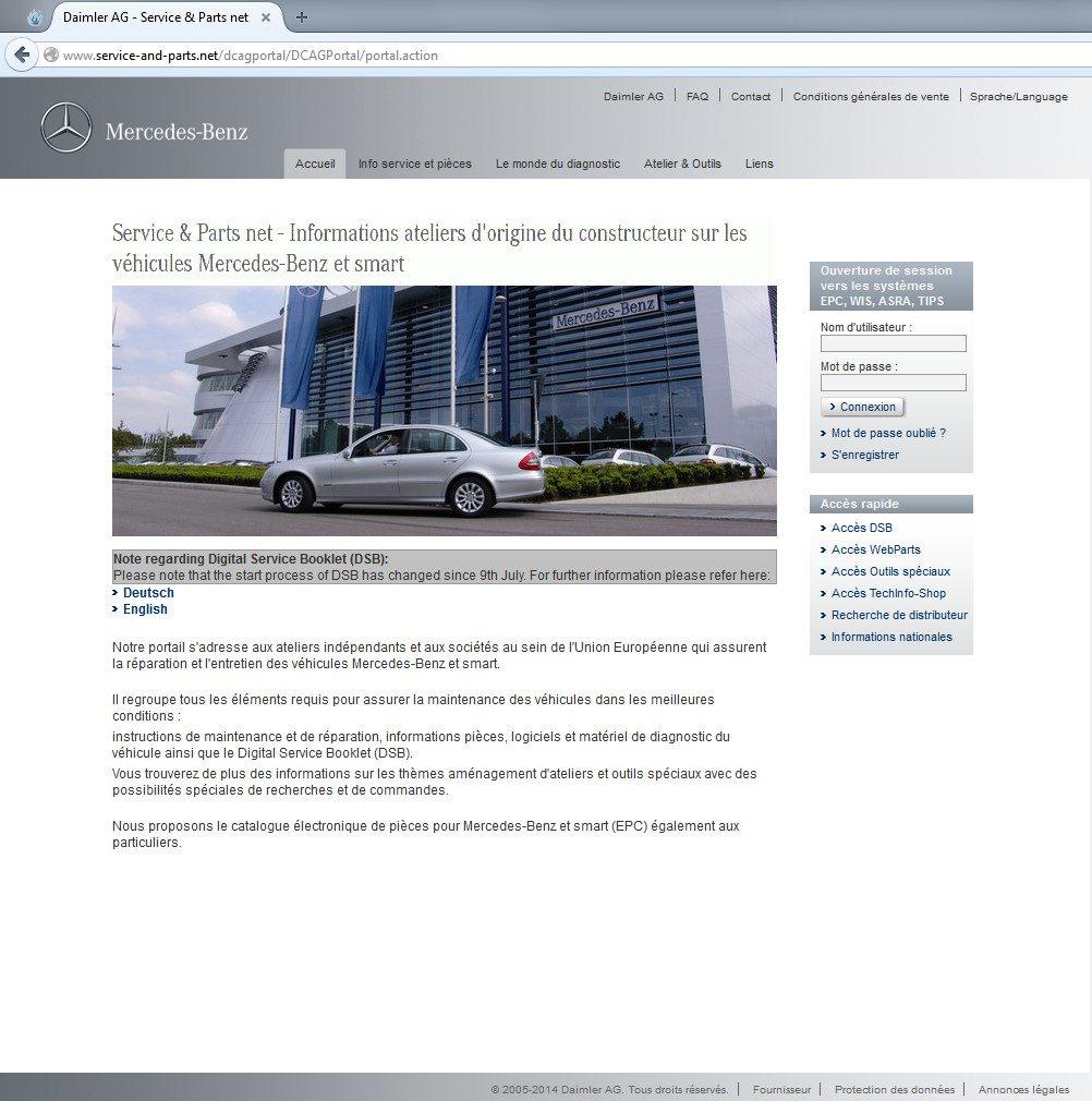 Voir le catalogue de pièces Mercedes en ligne pendant un an